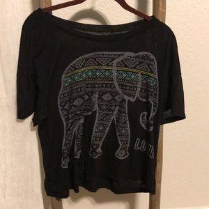 Vintage look medium crop Top elephant love